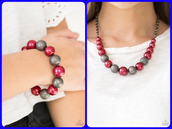 Color Me CEO & Humble Hustle - Red Necklace & Bracelet Set
