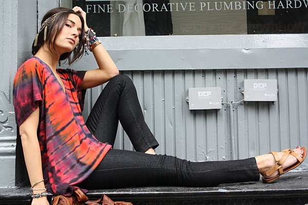 "Tess Pare of ""little black list"" rocking a red shibori T."