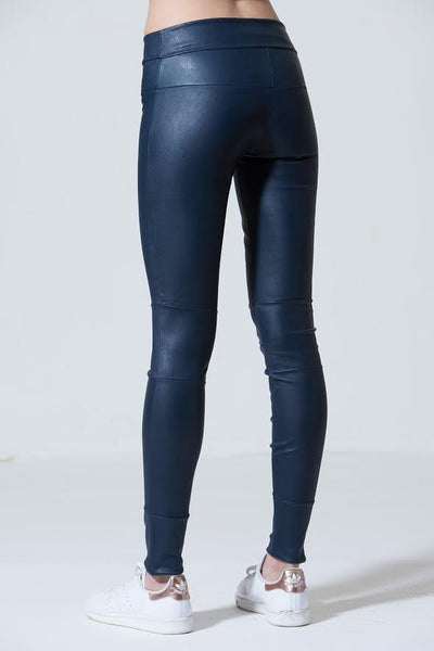 Stretch Leather Leggings: Atlantic Blue