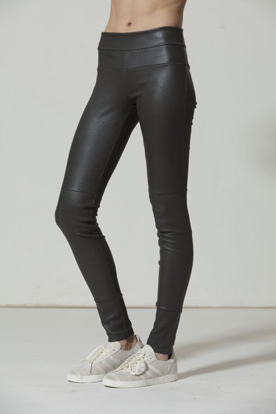 Classic Stretch-Leather Leggings: Gray