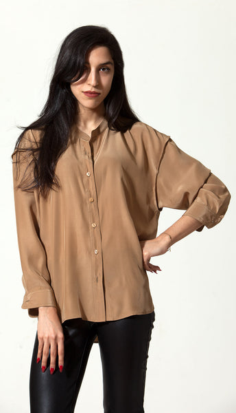 Fallon Shirt: Coffee Silk