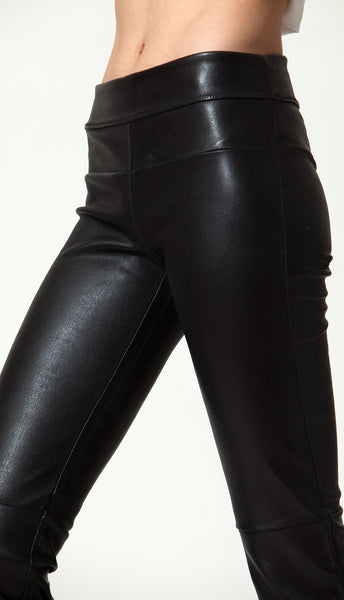 Stretch-Leather Bootleggings
