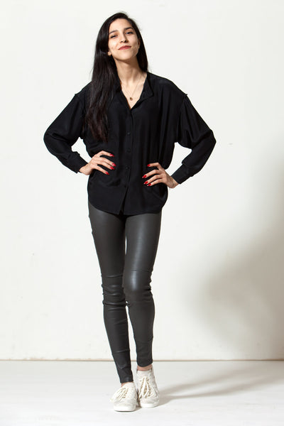 Fallon Shirt: Black Silk