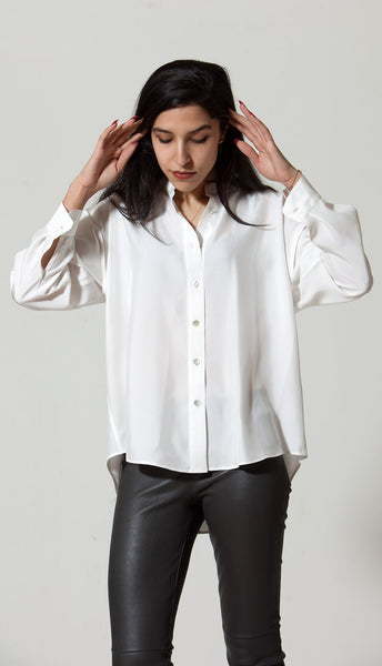Fallon Shirt: Cream Hammered Silk