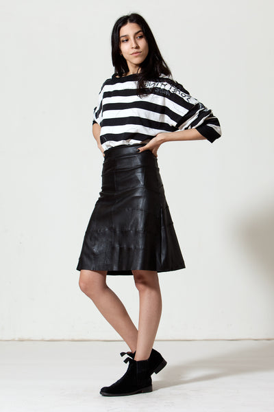 Knee Length A-line Stretch-Leather Skirt: Black