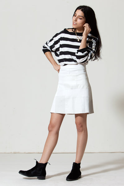 Patchwork A-line Stretch Leather Skirt: White