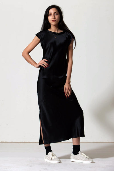 Ankle-Grazer Bias Silk Dress: Black