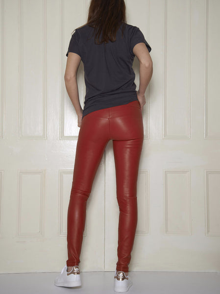 Classic Stretch-Leather Leggings: Lipstick Red