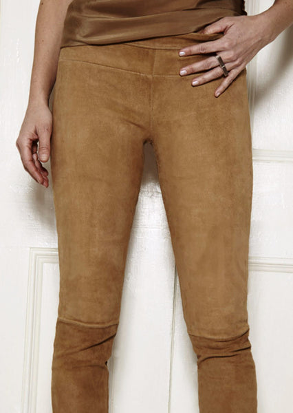 Classic Stretch-Suede Leggings: Camel