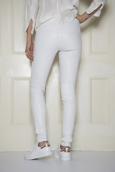 Classic Stretch-Leather Leggings: White