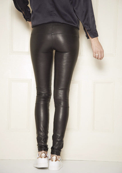 Classic Stretch-Leather Leggings: Black