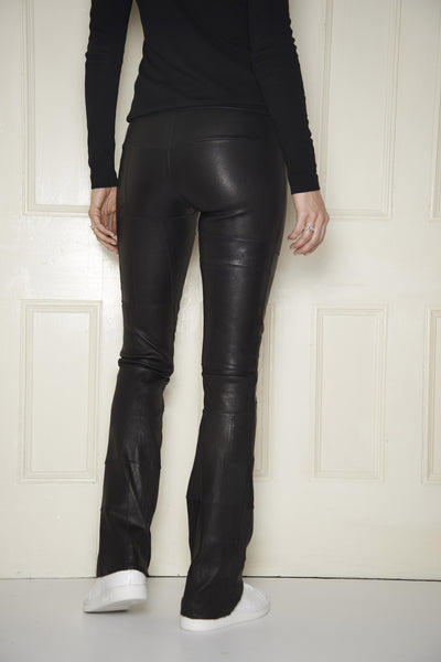 Patchwork Stretch-Leather Bootleggings