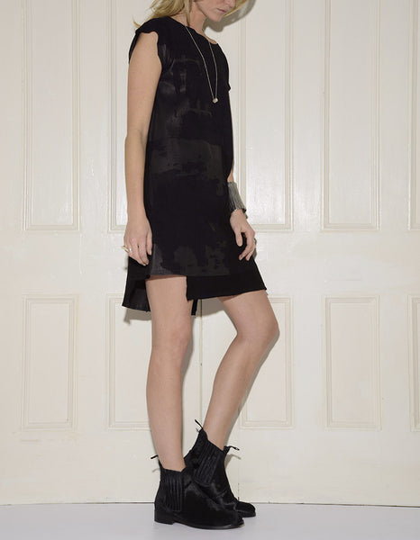 Abstract Kid Suede Shift Dress