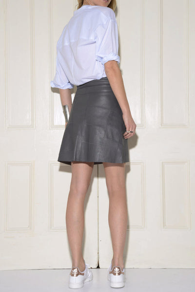 Patchwork A-line Stretch Leather Skirt: Grey