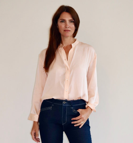Peach Silk Fallon Shirt