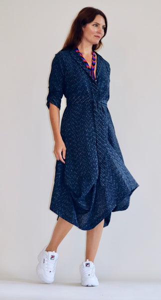 Prairie Dress Pinstriped Indigo