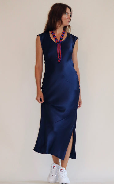 Ankle-Grazer Bias Silk Dress: Indigo