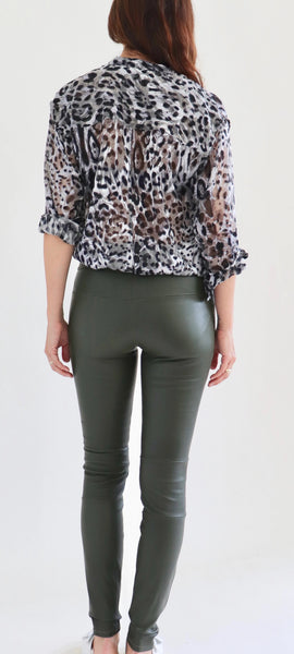 Stretch Lambskin Leather Leggings, Hunter Green