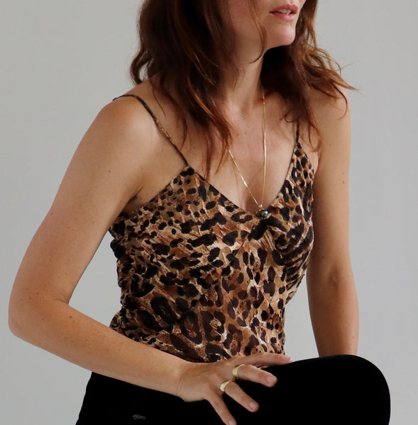 Leopard Silk Devore Slip Top