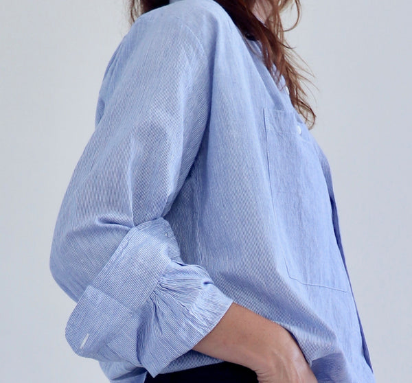 Peasant Shirt Blue White Stripe