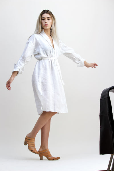 Gentlewoman Linen Peasant Dress, white