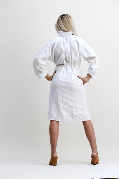 Gentlewoman Linen Peasant Dress, White.