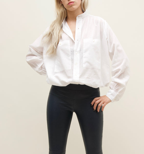 White Cotton Peasant Shirt