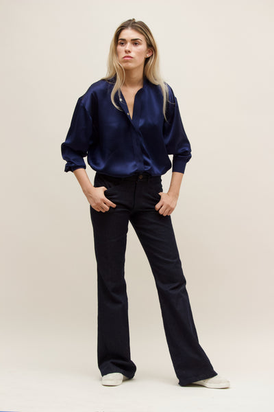 Indigo Silk Fallon Shirt