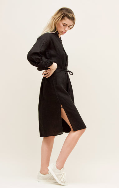 Gentlewoman Linen Peasant Dress, Black