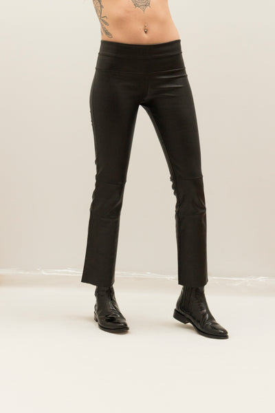 Stretch Leather Cropped Bootleggings