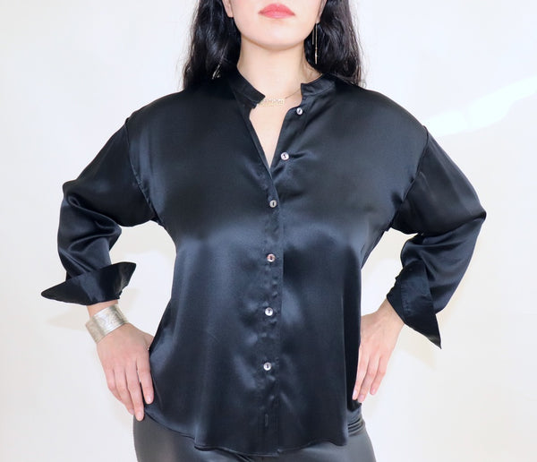 Fallon Shirt, Black Silk Charmeuse.