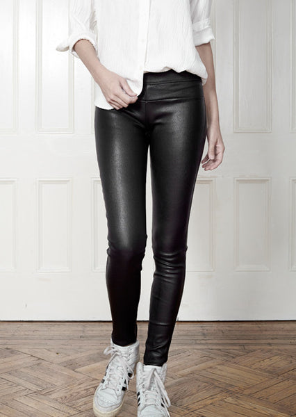Stretch Leather Leggings, Black.
