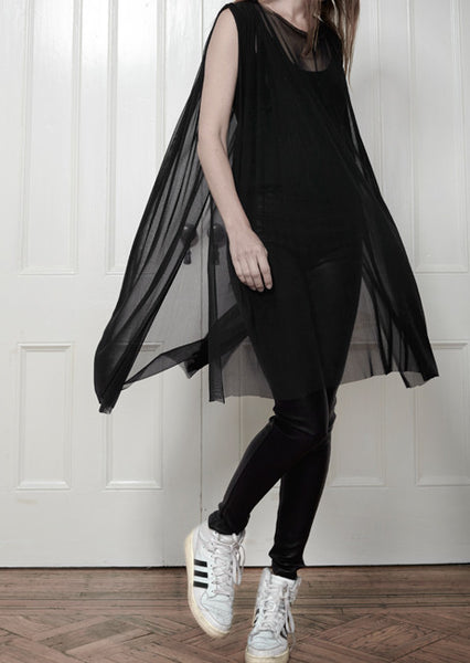 Sheer Stretch Silk Tulle Tunic