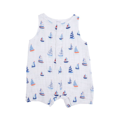 Shortie Romper- Nautical Boats