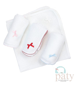 Paty White Receiving Blanket w/ Colored Trim and Bow