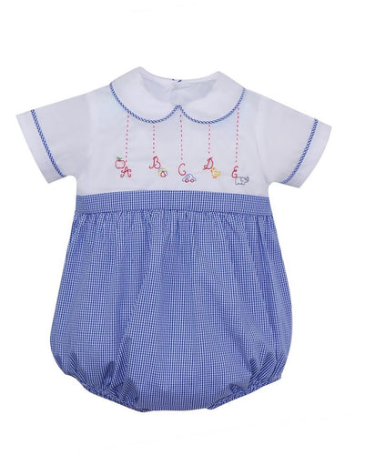 Alphabet Gingham Boy Bubble