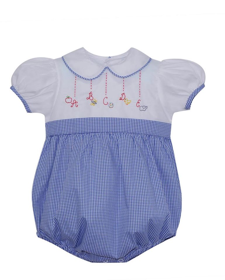Alphabet Gingham Girl Bubble