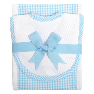 Aqua Gingham Bib and Burp Set