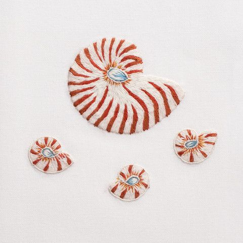 Red Nautilis Shell Hand Embroidered Towel
