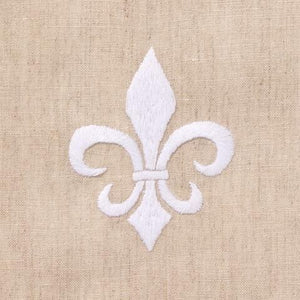 White Fleur De Lis Hand Embroidered Towel