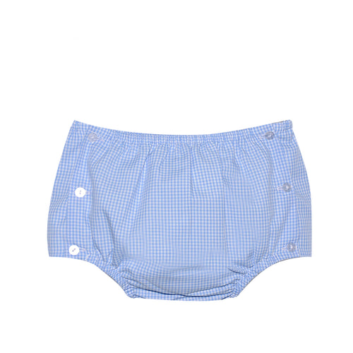 Blue Gingham Diaper Cover with Buttons