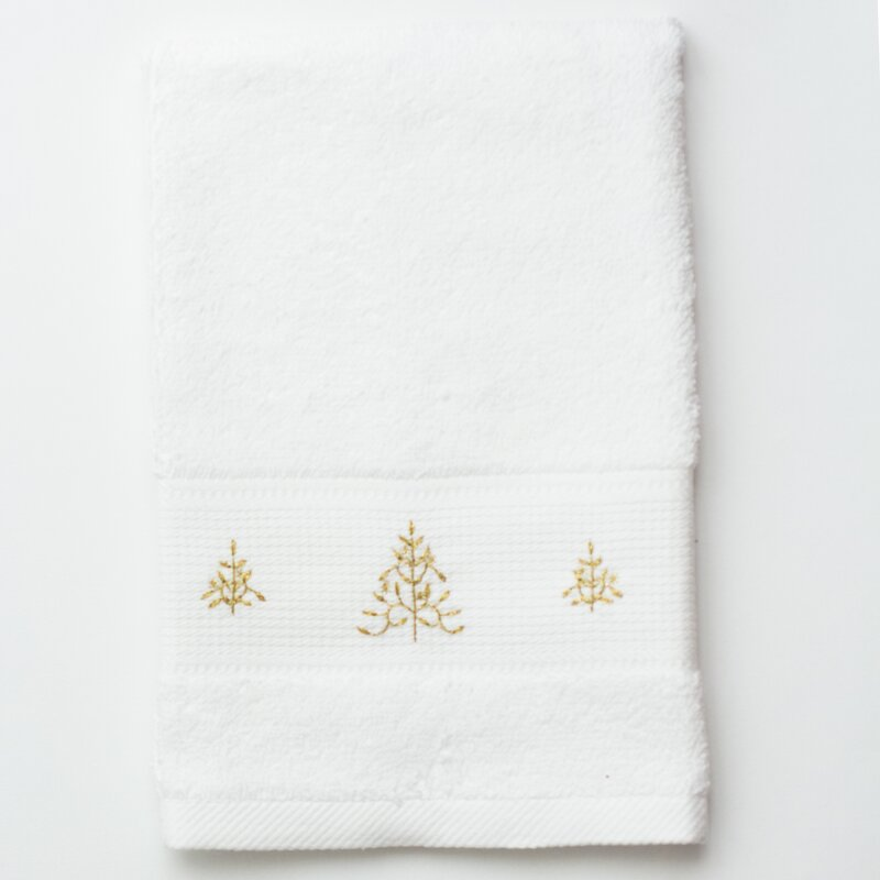 Gold Trees Embroidered Terry Hand Towel
