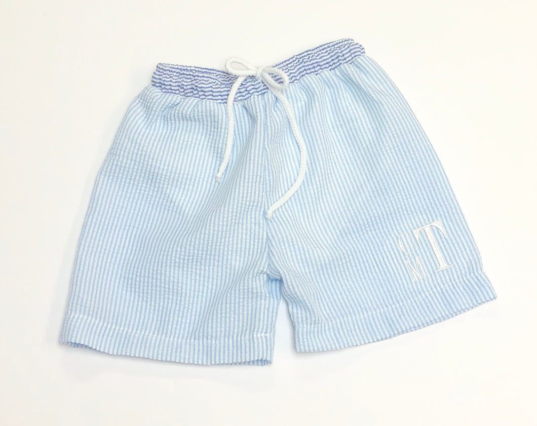 Baby Blue Seersucker Swim Trunks