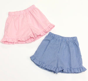 Girls Gingham Ruffle Shorts