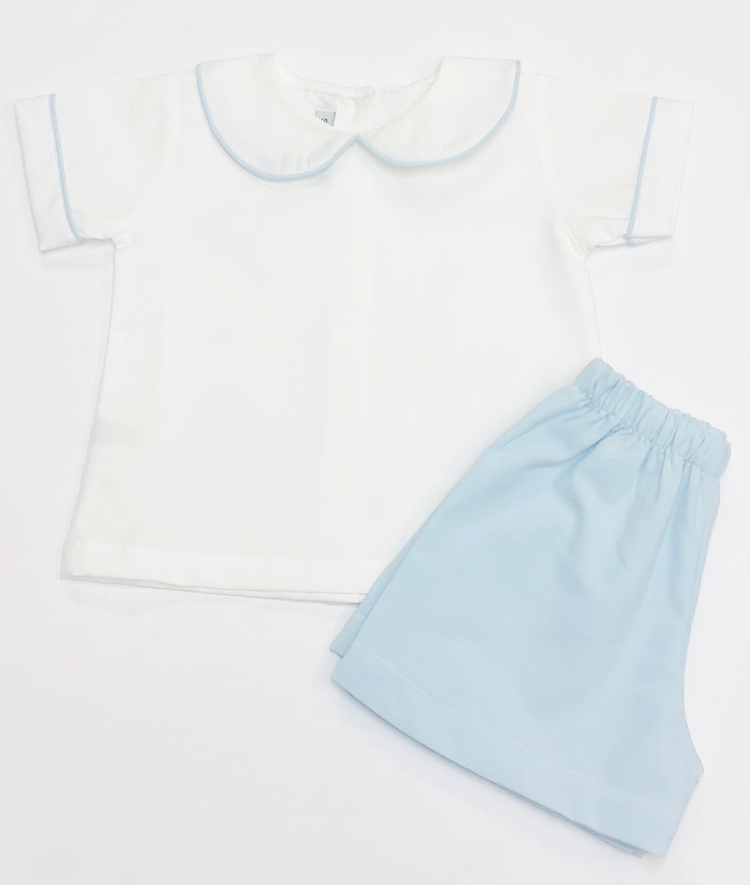 White with Blue Trim Short Set