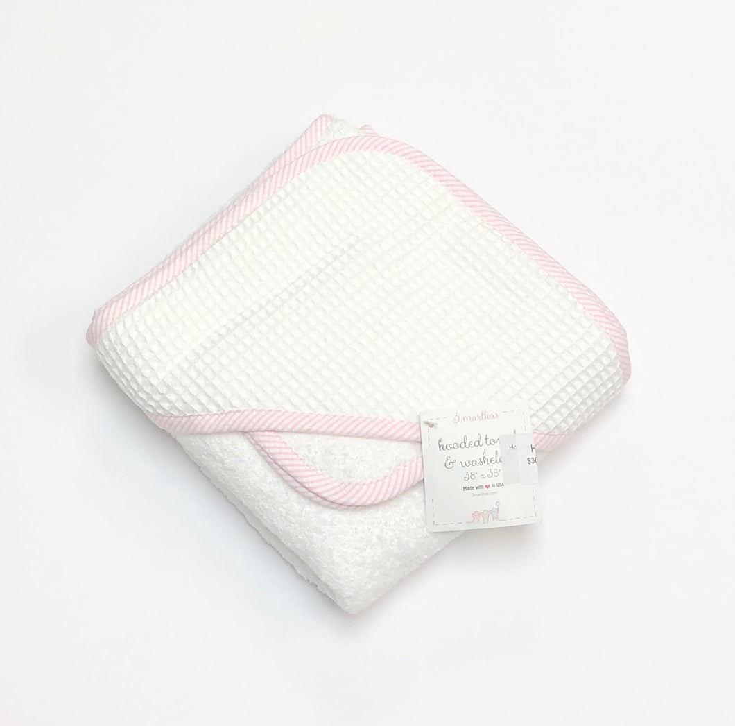 Pink Seersucker Stripe Hooded Towel Set