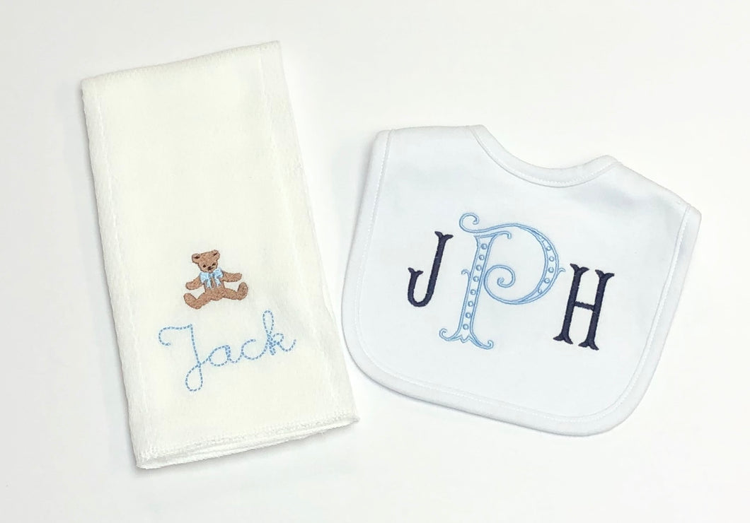 Teddy Bear Bib and Burp Set