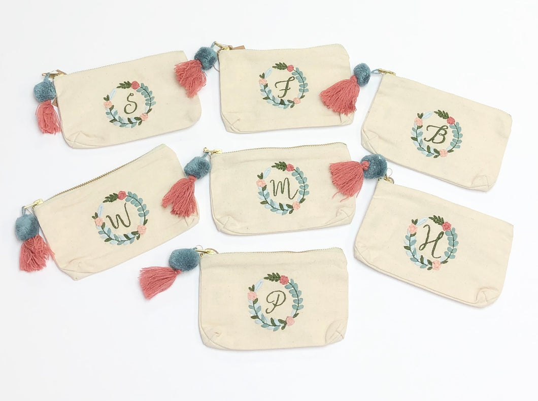Cursive Initial Embroidered Pouch
