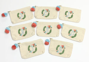 Block Initial Embroidered Pouch