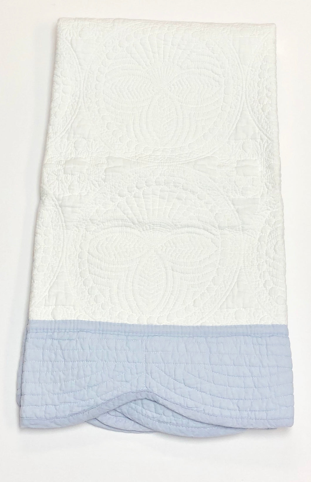 White with Blue Trim Baby Quilt